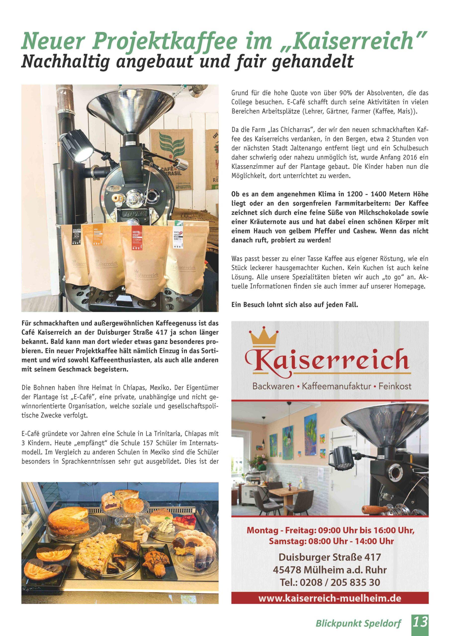 Blickpunkt Speldorf   Beitrag Projektkaffee im Kaiserreich